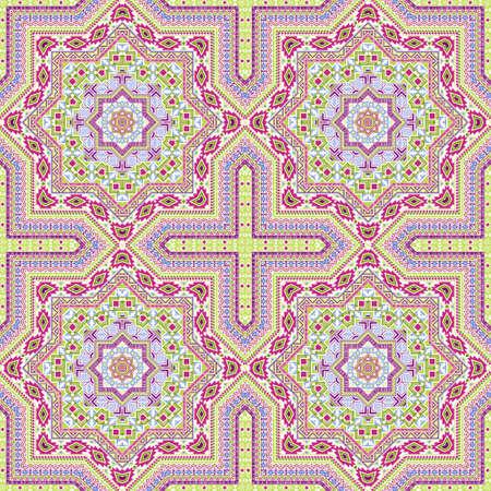 Flat portugese azulejo tile seamless ornament. Ethnic structure vector motif. Wrap print design. Classic lisbon azulejo tilework iterative pattern. Floor decor graphic design.