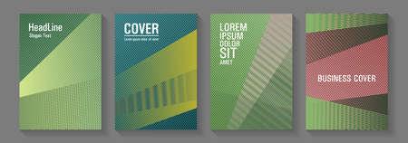 Halftone lines texture vector prints. Elegant commercial covers geometry set. Party invitation flyer cool backgrounds. School presentation elegant leaflets. Flat style booklet concepts. Çizim