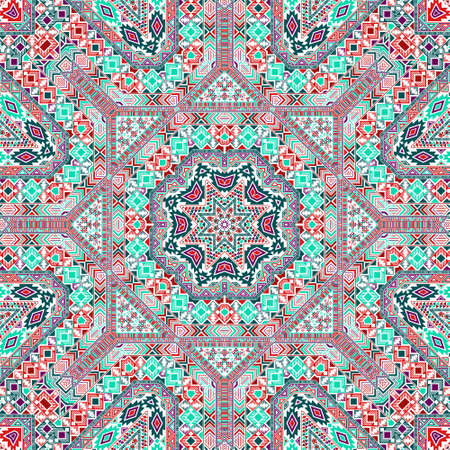 Trendy seamless pattern with geometric elements structure. Ethnic asian design. Batik print. Small elements background. Vector scrapbook ornament.