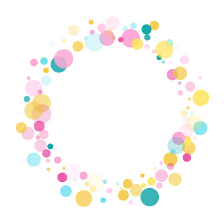 Memphis round confetti retro background in blue, pink and gold on white. Childish pattern vector, children's party birthday celebration background. Holiday confetti circles in memphis style. Çizim
