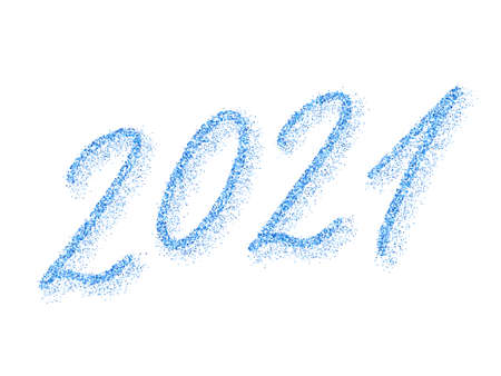 Blue 2021 New Year vector banner. Confetti particles font calligraphy. New Year 2021 of confetti scatter. Premium banner.