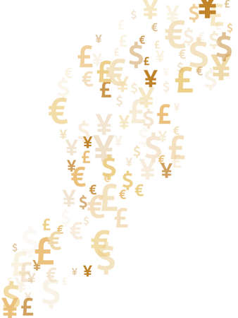 Euro dollar pound yen gold symbols flying currency vector illustration. Payment pattern. Currency icons british, japanese, european, american money exchange signs graphic design.