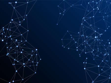 Big data cloud scientific concept. Network nodes plexus dark blue background. Wireframe minimal design. Tech vector big data visualization cloud structure. Circle nodes and line elements.