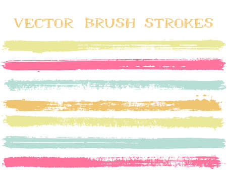 Mottled ink brush strokes isolated design elements. Set of paint lines. Messy Ink brushe stripes isolated on white, vector colors guide book samples. Çizim