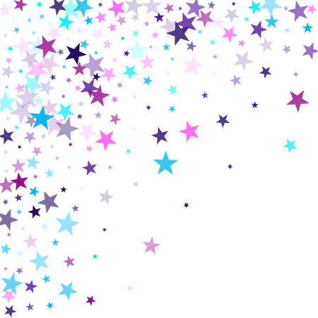 Flying stars confetti holiday vector in cyan blue violet on white. Surprise party decoration. Trendy stars explosion background. Christmas banner decoration.