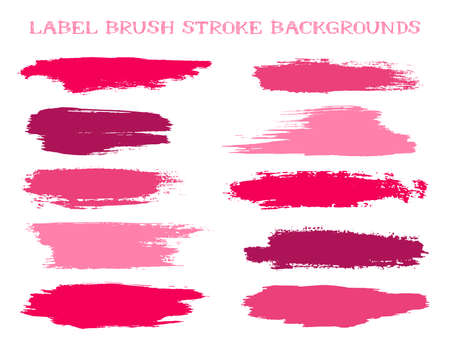 Cool label brush stroke backgrounds, paint or ink smudges vector for tags and stamps design. Painted label backgrounds patch. Vector ink color palette swatches. Ink smudges, stains, cherry spots.