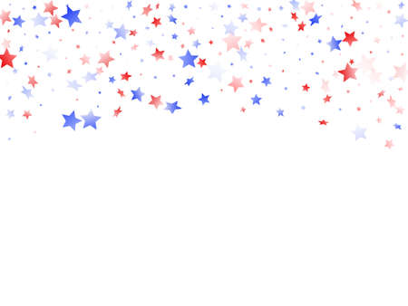 American Independence Day stars background. Confetti in US flag colors for Independence Day. Minimal red blue white stars on white American patriotic vector. Fourth of July stardust scatter.