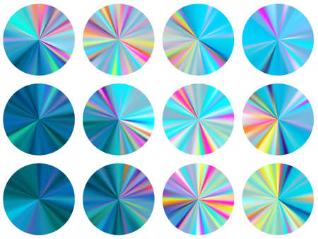 Holographic circle metallic gradient ui button elements vector collection. Isolated cool swatches. Button metal gradient texture backgrounds. Label backgrounds graphic design.