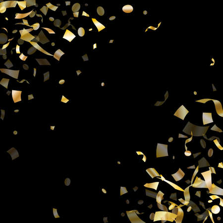 Holiday realistic gold confetti flying on black background.