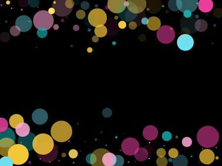 Memphis round confetti trendy background in cyan, crimson and gold on black. Childish pattern vector, kid's party birthday celebration background. Holiday confetti circles in memphis style. Ilustração