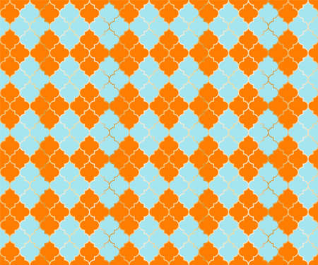 Arabic Mosque Vector Seamless Pattern. Argyle rhombus muslim textile background. Traditional ramadan pattern with gold grid. Chic islamic argyle seamless design of lantern lattice shape tiles. Ilustração