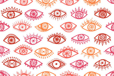 Doodle female eyes minimal seamless pattern. Sketch drawing style illustration. Cosmetics wrapping print design. Doodle eyes on white background psychedelic endless ornament. Ilustração
