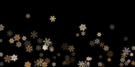 Winter snowflakes border minimal vector background. Macro snow flakes flying border illustration, card or banner with flakes confetti scatter frame, snow elements. Cold weather winter symbols.