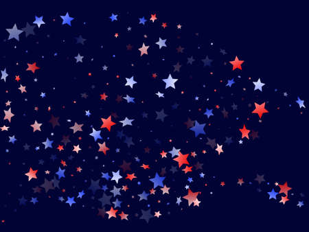 American Presidents Day stars background. Confetti in US flag colors for Independence Day. Gradiental red blue white stars on dark American patriotic vector. 4th of July stardust confetti. Ilustração