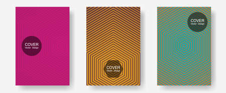 Brochure covers, posters, banners vector templates. Presentation backdrops. Halftone lines annual report templates. Trendy magazines. Geometric graphic design for booklet brochure covers.