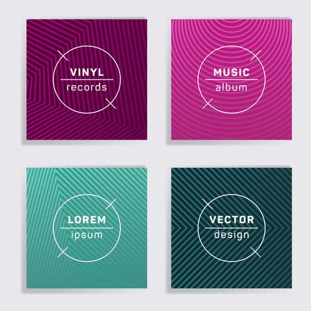 Geometric vinyl records music album covers set. Halftone lines backgrounds. Flat creative vinyl music album covers, disc mockups. DJ records disc vector mockups. Flyer gradient patterns.