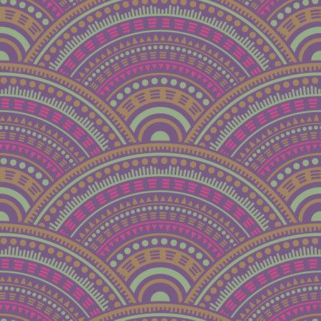Moroccan mandala circles textile ornament vector seamless pattern. Oriental motifs paisley repeating geometry. Arabic ethnic circle mandala elements seamless geometric pattern.