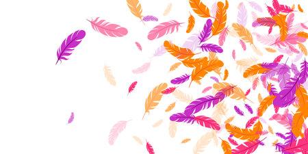 Crimson orange purple feather floating vector background. Flying bird plumage illustration. Abstract fluffy soft plumage, feather floating isolated. Macro graphic design. Airy boa hackle.