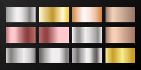 Silver, platinum, bronze, pink gold vector metallic gradients. Badges set. Graphic elements of gold, bronze and silver gradients for award medals or coins design. Ilustração