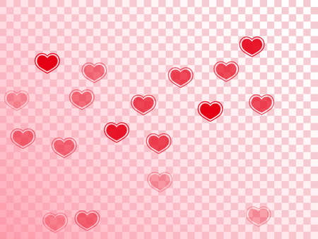 Flat red hearts flying vector illustration. Creative greeting card backdrop. Bright hearts love passion symbols isolated on white background. Anniversary lovely decor. Ilustração