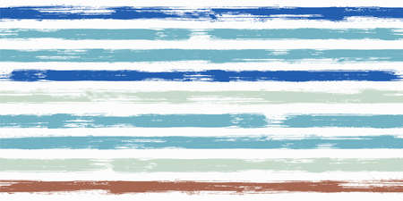 Retro watercolor brush stripes seamless pattern. Ink paintbrush lines horizontal seamless texture for background. Hand drown paint strokes decorative artwork. For fabric. Ilustração