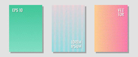 Halftone gradient texture vector cover layouts. Educational notepads. Zigzag halftone lines wave stripes backdrops. Hipster placards. Multiple lines cool gradient texture backgrounds.