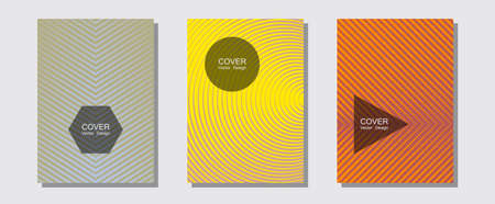 Cool flyers set, vector halftone poster backgrounds. Liner faded gradation. Halftone lines music poster background. Minimal booklets. Geometric lines shapes patterns set for flyer design.