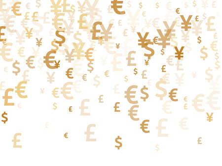 Euro dollar pound yen gold signs scatter money vector design. Deposit concept. Currency icons british, japanese, european, american money exchange signs background.