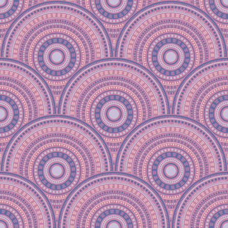 Indian fish scale batik print vector seamless pattern. Ethnic motifs floral repeating illustration. Eastern asian ethnic medallion concentric shapes seamless geometric pattern. Ilustração