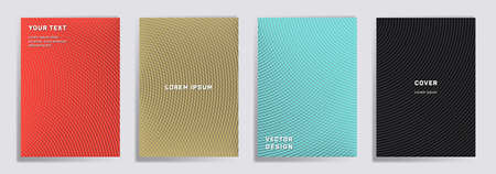 Semicircle lines halftone covers vector collection. Trendy brochure title page layouts. Notepad, magazine, business catalog covers with halftone gradient patterns. Overlaping semicircles prints. Ilustração
