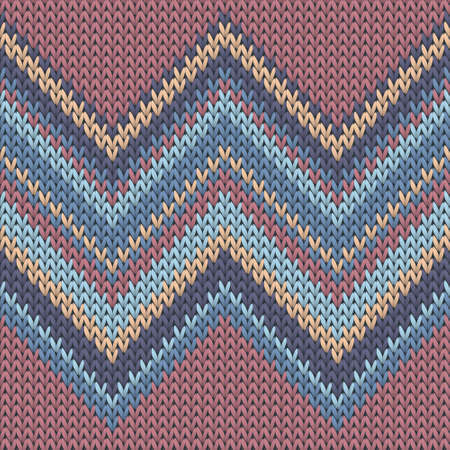Handmade zig zal lines knitting texture geometric vector seamless. Jumper knitwear structure imitation. Fashionable seamless knitted pattern. Abstract xmas wallpaper. Ilustração