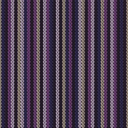 Natural vertical stripes knitting texture geometric vector seamless. Rug hosiery textile print. Classic warm seamless knitted pattern. Cozy textile print design. Ilustração