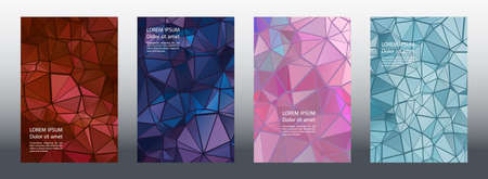 Triangles mosaic geometric cover page layouts vector collection. Origami brochure front pages. Triangles mosaic business reports graphic design. Industrial urban backgrounds. Polygonal covers.