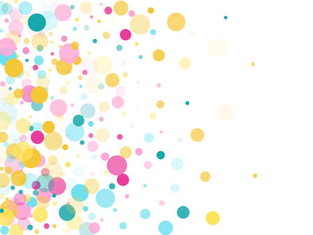 Memphis round confetti creative background in cyan, rose color, gold on white. Childish pattern vector, children's party birthday celebration background. Holiday confetti circles in memphis style.