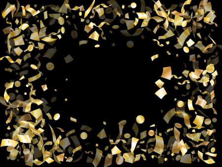 Gold glowing confetti flying on black holiday vector graphic design. Rich flying sparkle elements, gold foil gradient serpentine streamers confetti falling carnival vector.