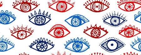 Doodle human eyes cartoon endless ornament. Sketch drawing style illustration. Mascara wrapping print design. Isolated eyes on white background boho repeatable pattern.