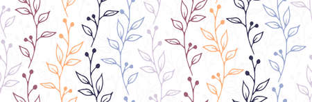 Berry bush branches hand drawn vector seamless ornament. Boho floral textile print. Grass plants foliage and bloom illustration. Berry bush twigs linear seamless design Ilustração