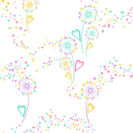 Dandelion flowers cute vector seamless pattern. Fabric print design. Rustic dandelion blowing flowers isolated illustration. Heart shaped petals. Love symbols. Summer seamless ornament.