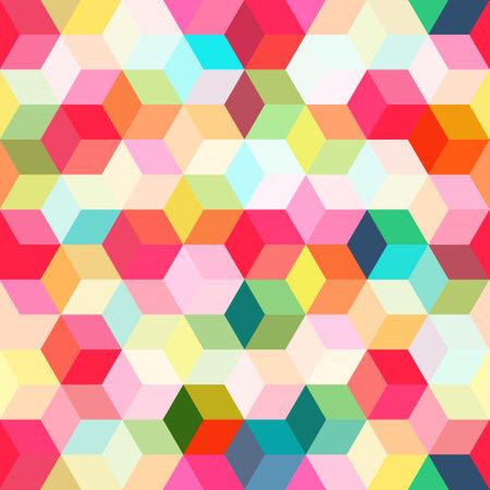 Hexagon grid seamless vector background. Random polygons bauhaus corners geometric design. Trendy colors hexagon cells pattern for game ui. Hexagonal shapes modern backdrop.