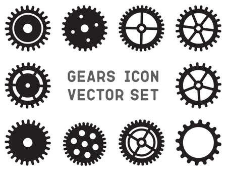 Gears icon vector set, cogwheel pictogram group Ilustração
