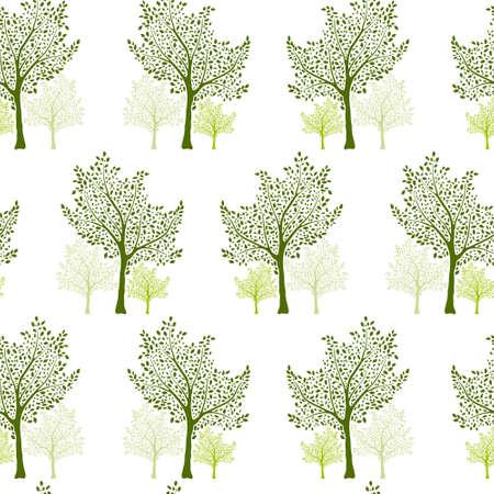 Green trees with leaves seamless pattern design. Ilustração