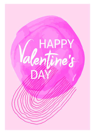 Happy Valentine Day watercolor frame card painted