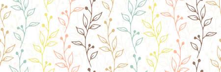 Berry bush twigs botanical vector seamless design Ilustração