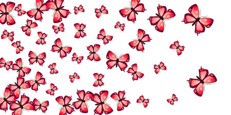 Tropical red butterfly cartoon cute spring design