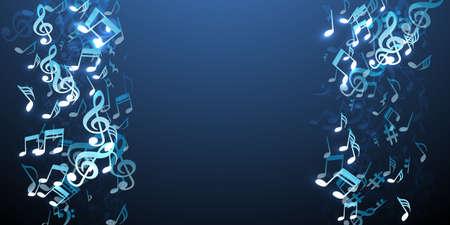 Music notes flying vector wallpaper. Sound symbols