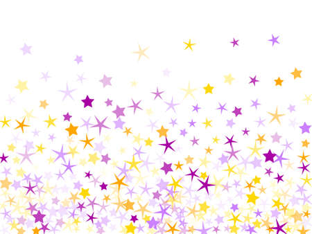 Violet and yellow sparkles confetti pattern. Flat