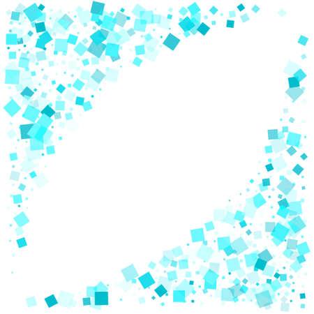 Falling quad shapes design. Clean blue square Ilustração