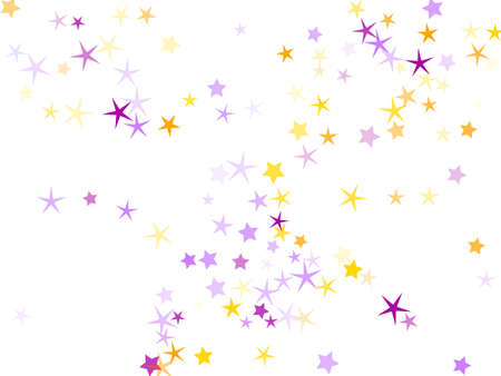 Violet and yellow sparkles confetti illustration.
