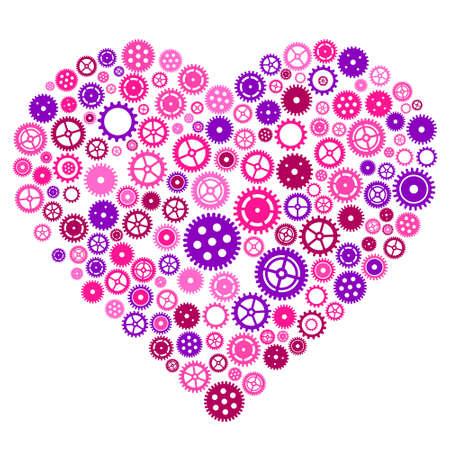 Heart of cogwheels gears. Mechanical human heart.