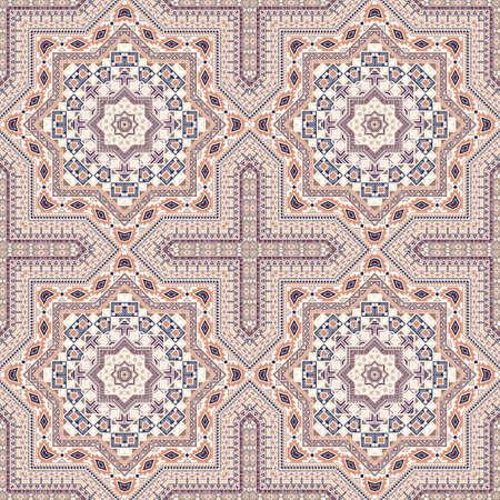 Ornate italian maiolica tile seamless rapport. Ethnic structure vector patchwork. Velum print design. Classic italian mayolica tilework recurrent pattern. Floor decor graphic design.